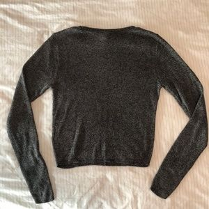 H&M Sweaters - H&M Silver-Gray Cropped Knit Sweater